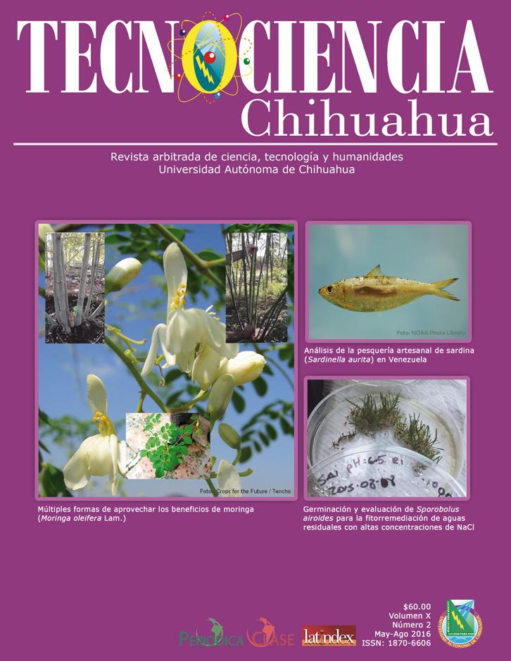 Portada de Tecnociencia Chihuahua, edición mayo-agosto de 2016. Editada por la Universidad Autónoma de Chihuahua.